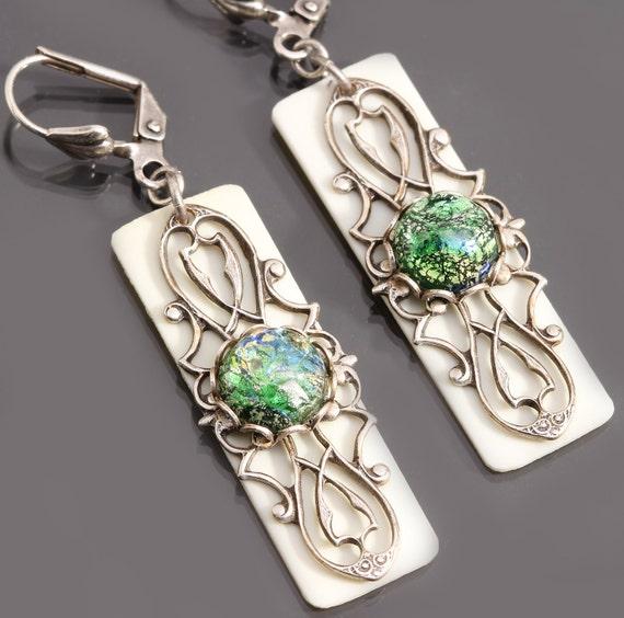 Green Opal Earrings, Filigree Earrings, Upcycled Piano Key Jewelry
