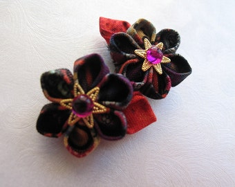 Drops of Color Miniature Kanzashi Snap Clips