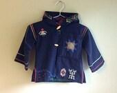 Vintage Kids Coat . Wool Peacoat . Embroidered Coat . Handmade . Heirloom Clothing . Unisex . Toddler Coat