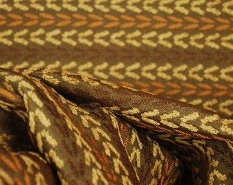 Olive Orange Chenille Herringbone Upholstery Fabric