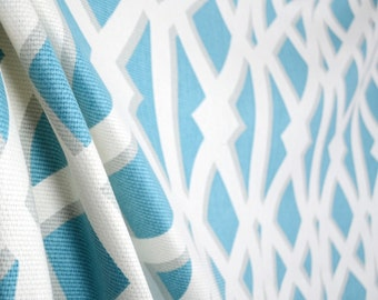 P Kaufman Elton Turquoise Blue White Geometric Trellis Cotton Fabric