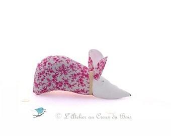 Liberty organic lavender sachet : plum and pink mouse Elise by L Atelier au Creux du Bois