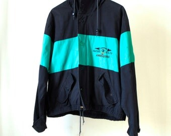 NAUTICAL blue and turqouise vintage 90s YACHT boating PARKA lightweight jacket coat