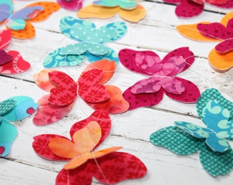 Butterfly Garland - Tropical Colors - Fabric Butterflies
