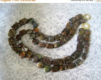20% OFF ON SALE 2-strand Pietersite and Freshwater Pearl  Necklace, Gemstone Necklace