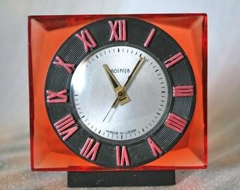 Vintage Soviet Clock - Working Desk Mantle Table Clock  - Molnija / Molniya - Red  Plexiglass - Mid Century 1970s Soviet Union / USSR