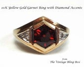 Reserved for oaklandartist 10K Yellow Gold Garnet Ring with Bezel Set 1.5 Carat Gemstone and Diamond Accents - Vintage 60's Fine Jewelry