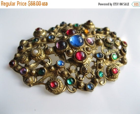 ON SALE 25% OFF Vintage 1930s Brooch - Filigree Cabochon Pin - Egyptian Revival Multicolored