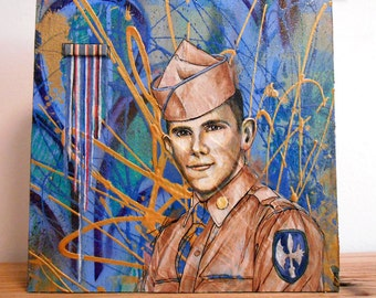 Original Art: Through the Causeway 2. A painting of an Army infantry veteran with ribbon bar. Not a print, hand painted.
