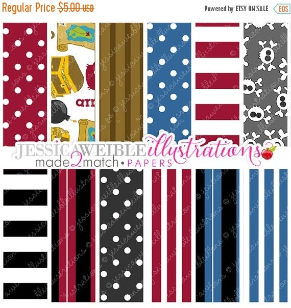 ON SALE We Be Pirates Cute Digital Papers for Card Design, Scrapbooking, and Web Design - Commercial Use Ok - Pirate Papers