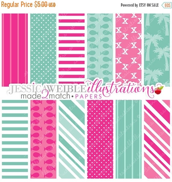 ON SALE Pirate Girl Cute Digital Papers - Commercial Use OK - Pink Pirate Backgrounds, Pink Pirate Papers
