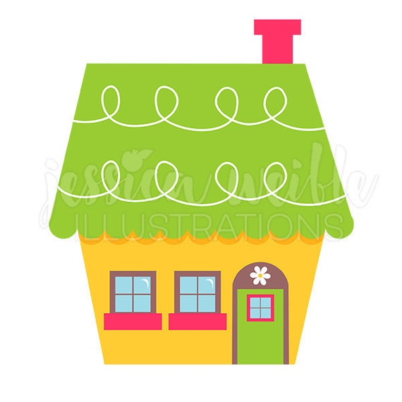 Cute little yellow house digital clipart home clip art for Cute house images