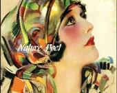 Art Deco Beautiful Lady Downloadable, Printable, Digital Art Image Instant Download Supplies, Scrap Booking, Home Decor, Vintage Pin Up