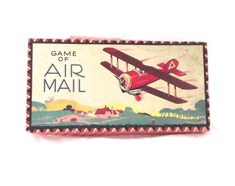 Milton Bradley Air Mail Board Game, Rare Vintage 1921 Game No. 4021 (K2)