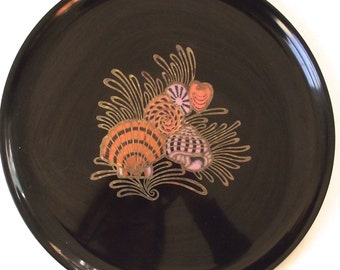 Couroc Seashell Inlay Tray, Vintage Round Serving Platter (E1)