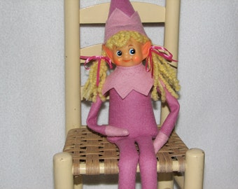 Elf Doll - Poseable Pixie - Knee Hugger in Pink - can be posed