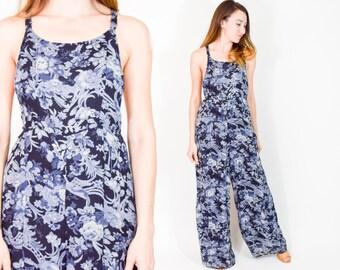 90s Floral Palazzo Jumpsuit | Navy Blue Print Overall Playsuit | Wide Leg Jumpsuit | Large