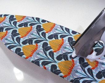 Ironing Board Cover TABLE TOP - Terra Australis waratah flower orange