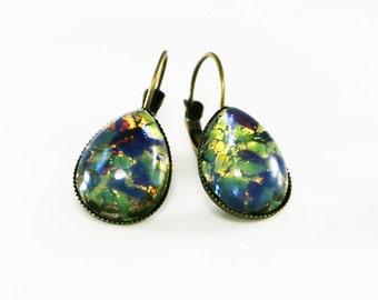 Green Opal Earrings, Fire Opal Jewelry, Teardrop Leverbacks