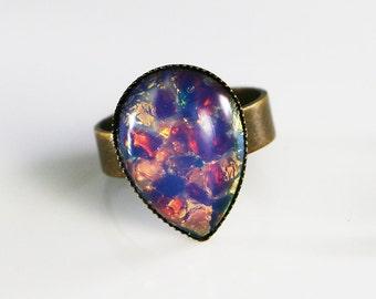 Fire Opal Ring, Adjustable Teardrop Shape Ring