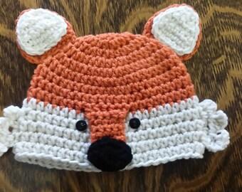 Crocheted Fox Hat ....sizes newborn to adult