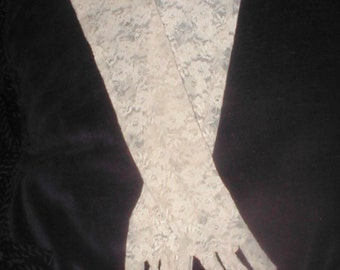 Vintage elbow-length Tan Lace Gloves