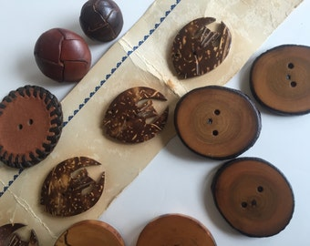 Grab Bag of Wood and Leather buttons. Decorative jacket/sweater or bag. Hawaiian Fish