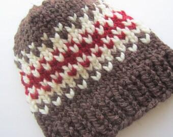 Brown and Red Fair Isle Knit Hat, Fair Isle Hat, Knit Hat, Women's Knit Hat, Men's Knit Hat, Hand Knit Hat, Knit Hat, Chunky Knit Hat