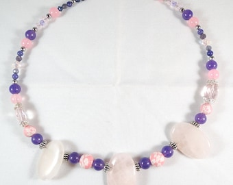 Rose Quartz Triple Focal Necklace