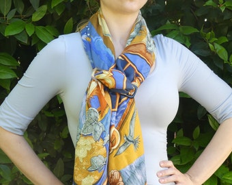 Handmade Long Buckle-Shaped Natural Horn Ring for your Hermes Silk Scarf Shawl