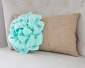 French Country Decorative Pillow - Burlap Pillow - Lumbar Pillow - Chair Pillows -Rustic Pillow- Nursery Pillow- Mint Pillows-Rustic Pillow