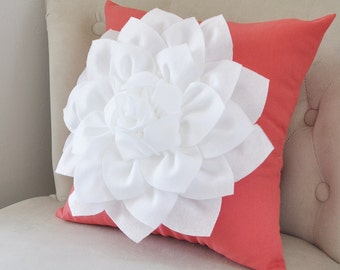 Coral Throw Pillows Decorative Pillows Throw Pillows for Couch Coral Pillow Covers Flower Pillow Coral Decor Coral Accent Pillows Cushion