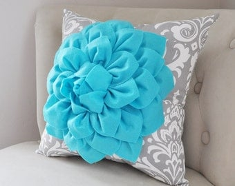 Cottage Chic Pillow, Flower Decor, Summer Pillows, Turquoise Nursery Decor, Dahlia Flower, Turquoise Nursery, Turquoise Home Decor, Wedding
