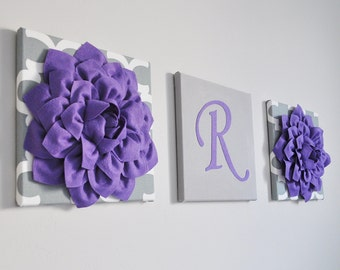 Girls Room Decor Custom Letter, Lavender and Grey Letters, Wall Hanging Letter and Flower Set, Nursery Decor, Dorm Decor, Personalized
