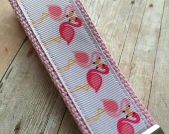 Ribbon Keychain Fob -- Tropical Flamingo