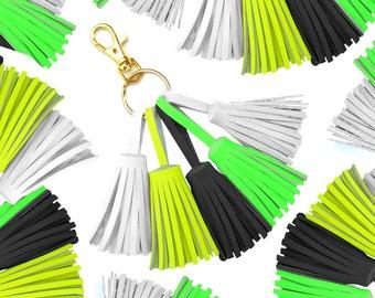 Neon Tassel Keychain, Leather Tassel Purse Clip, Tassel Clip, Tassel Key Ring, Clip On Tassels, Tassel Purse Charm, Neon Fringe Key Chain