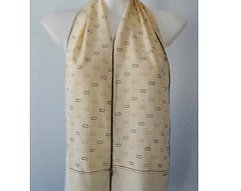 Vintage Silk Scarf, Vintage Christian Dior, Christian Dior, Cream Silk Scarf, Long Slim Silk Scarf