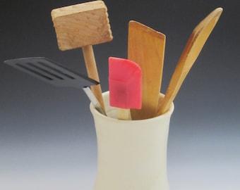 Kitchen utensil holder / flower vase / handmade / pottery / yellow / high fired