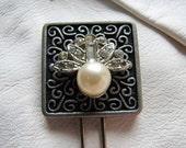 Art deco hair pin | decorative | bridal | vintage | silver | rhinestone