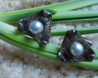 Ming's Sterling Silver Cuff Links, Vintage Black Pearl Cuff Links, Vintage Hawaiian Jewelry