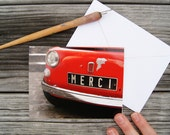 "Paris Photo Notecard - ""Merci Car"" - Single Folded Card with Envelope, Blank Inside"