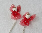 Vintage Tiny Red Tulle Angels on Chenille Stems Christmas Angels Babies