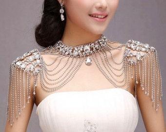 Bridal Shoulder Necklace, Wedding Shoulder Necklace, Multi Strand Necklace, Art Deco Necklace, Special Occasion Necklace