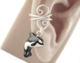 Killer Whale Ear Cuff Wrap - Silver Ear Cuff - Orca Whale Jewelry - Ocean Jewelry - Beach Jewelry - Nautical Jewelry - Dangle Earings