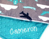 Personalized Airplanes on Teal Green-  Baby Blanket - Baby Girl or Boy Lovey or Stroller blanket - You Choose Back Minky Color