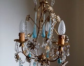 Gorgeous petit gold tole vintage crystal chandelier, 40s Italian vintage, flowers and crystals, Murano clear blue drops