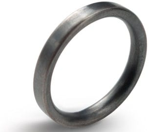 Black Men's Silver Wedding Band Comfort Fit , Hand Forged Oxidized Sterling Silver Ring 3 mm height 2 mm  Simple Sterling Silver Unisex Ring