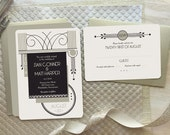 "Deco Wedding, 1920's Wedding Invitation - Art Deco Wedding, Wedding Invitation Set, Vintage Wedding ""Syracuse"""