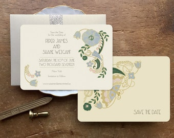 Save the Date, Save the Date Cards, Wedding invitations, Art Deco Wedding Invitations, Blush Wedding, Floral Wedding, Light Blue Wedding
