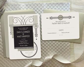 "Art Deco Wedding Invitation, 1920's Wedding Invitation - Art Deco Wedding, Wedding Invitation Set, Vintage Wedding ""Syracuse"""